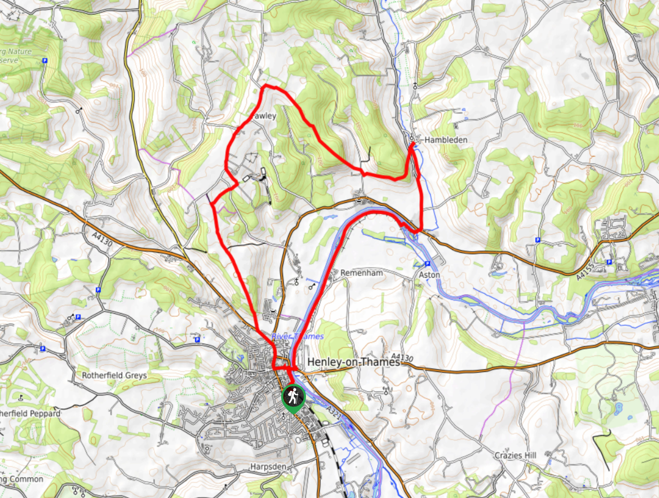 Henley Hills Great Wood and River Thames Circular Map