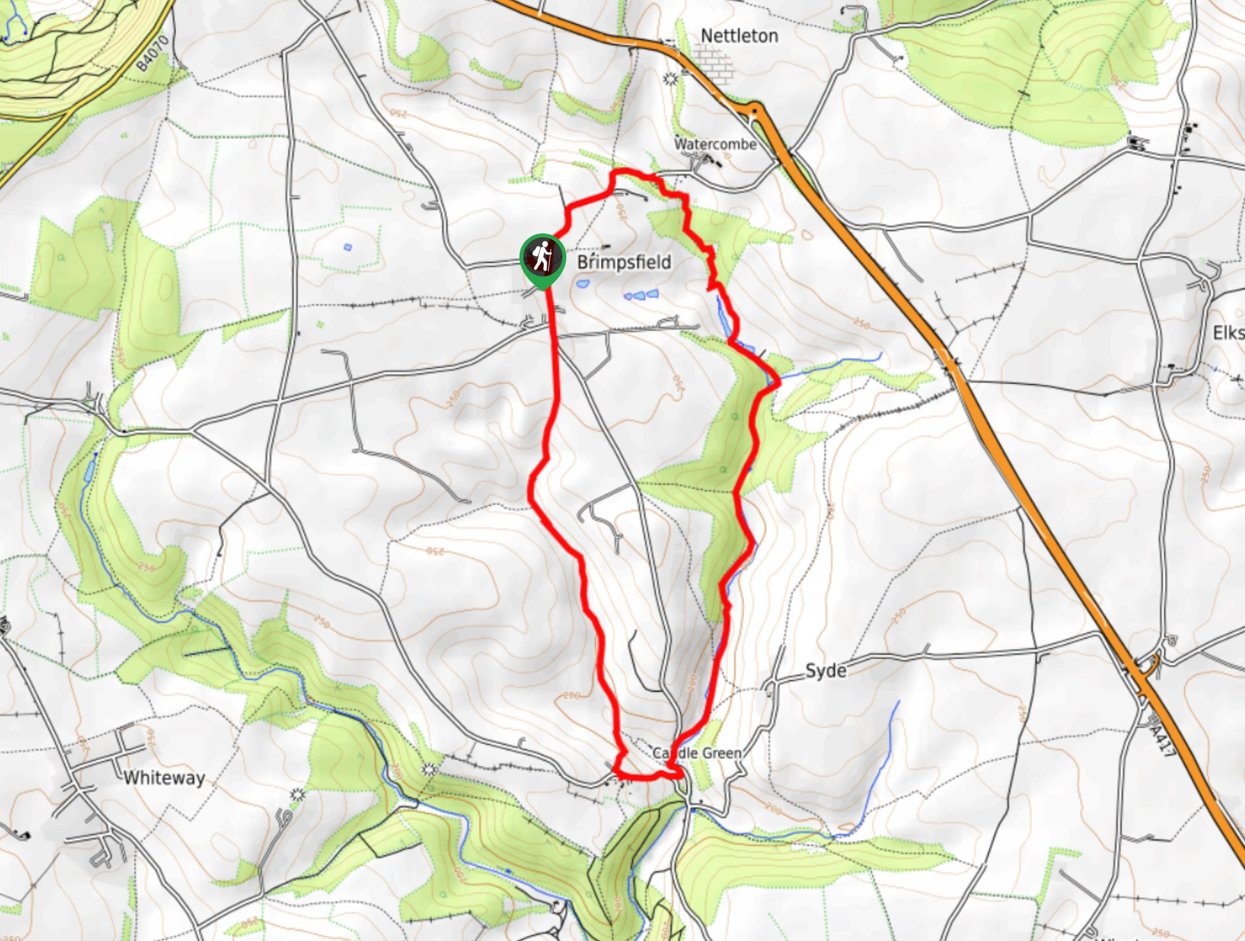Brimpsfield to Caudle Green Map