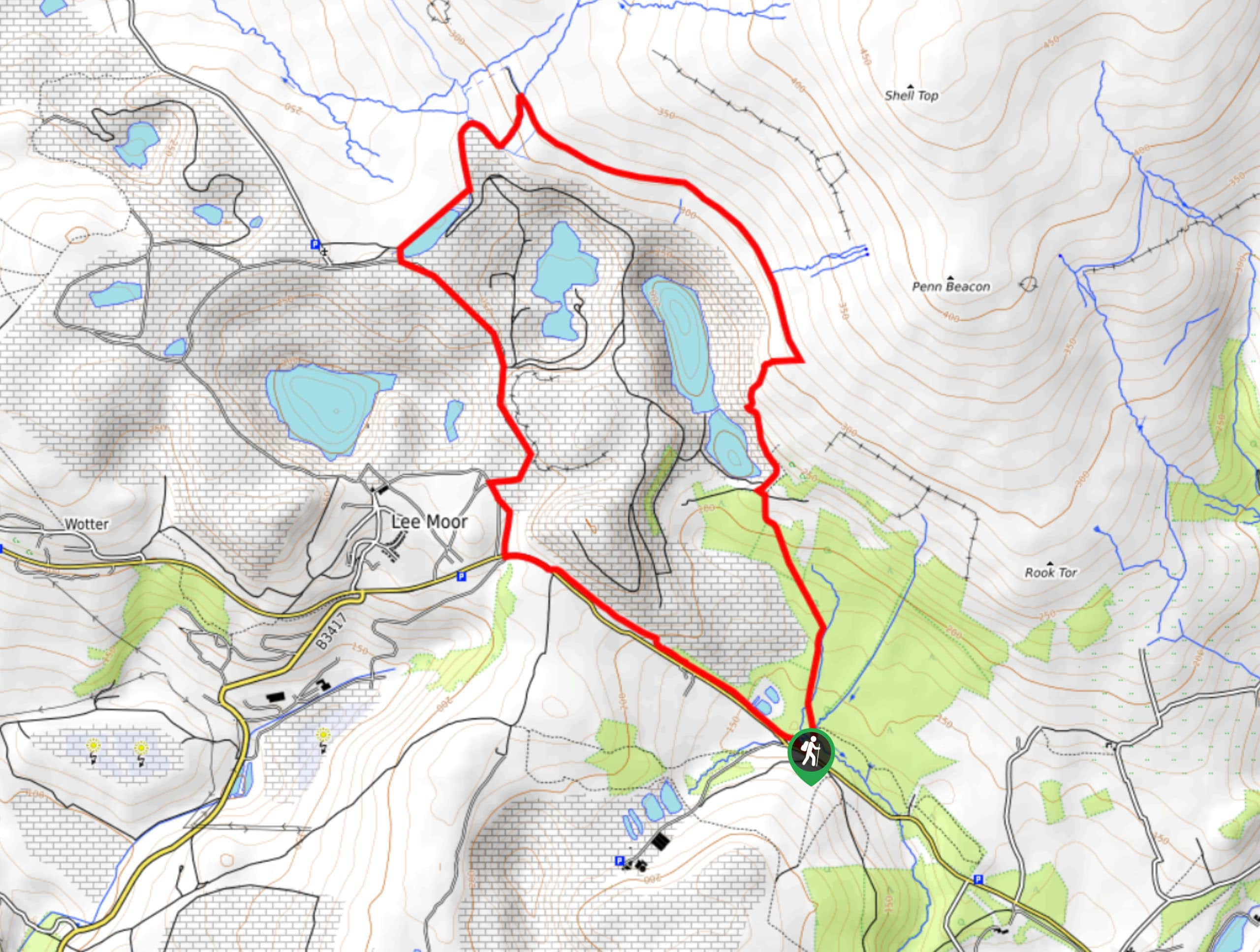Lee Moor and Quarry Walk Map