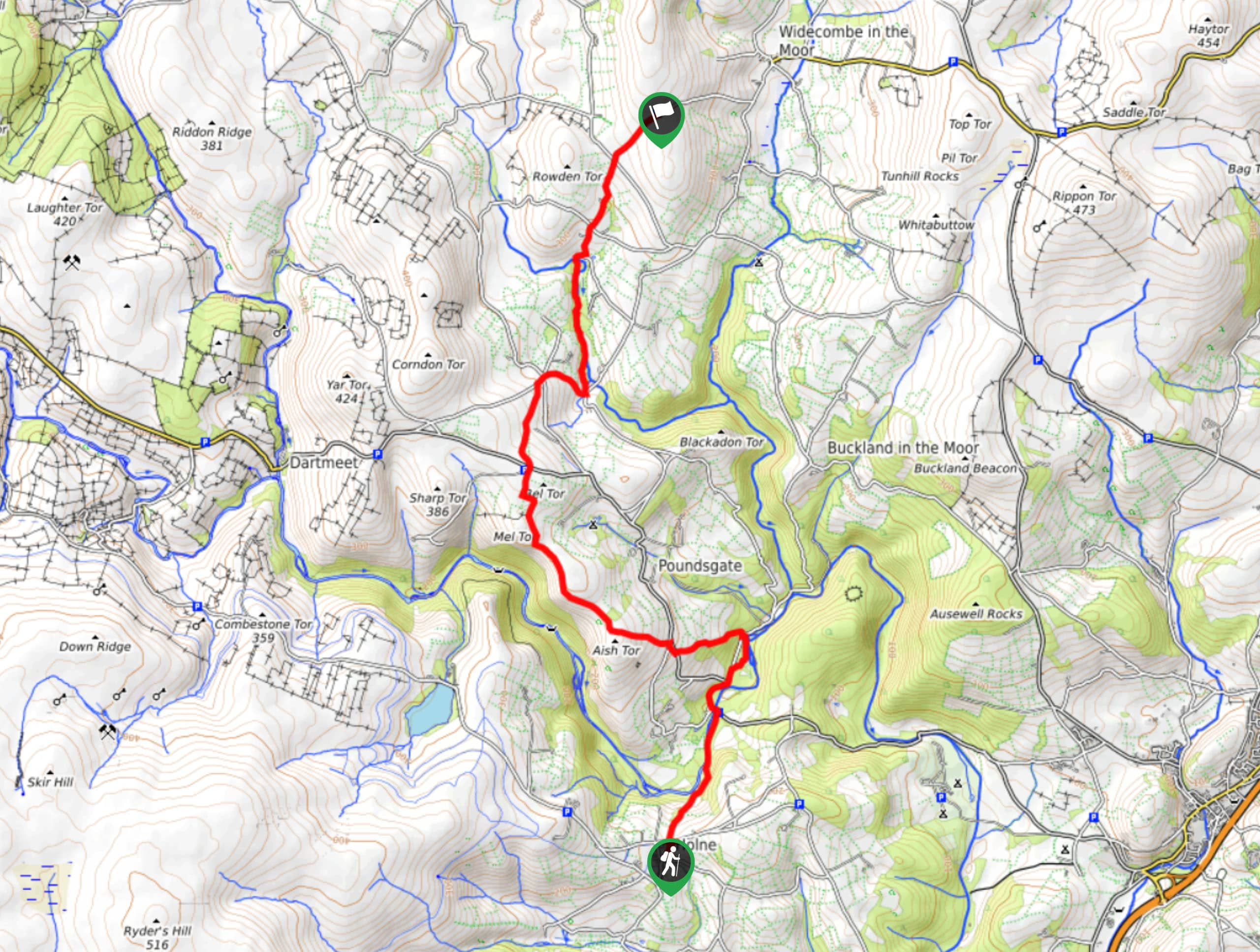 Two Moors Way Section 4: Holne to Hameldown Map
