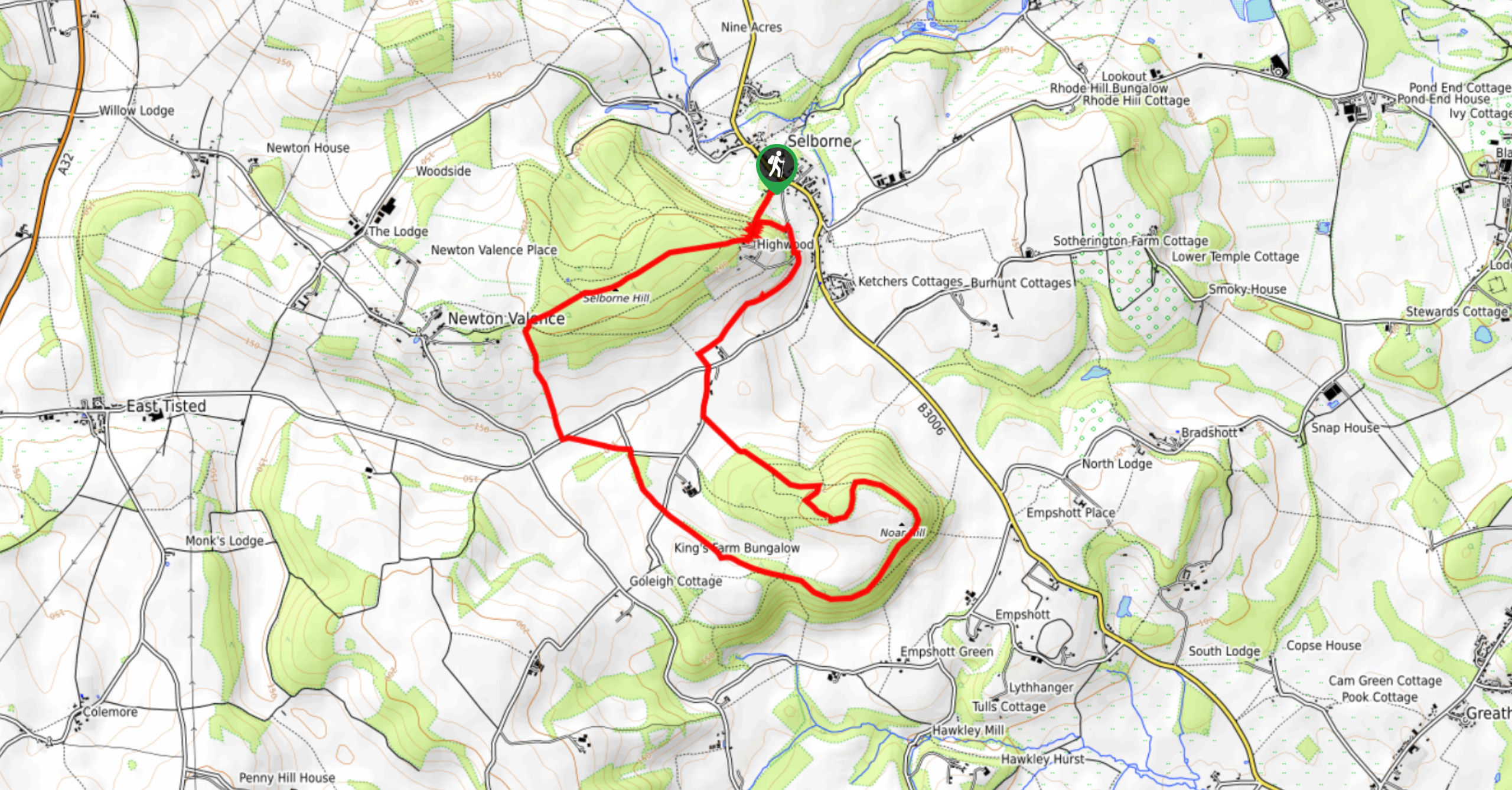 South Downs National Park-Selborne and Noar Hill Walk-Map image