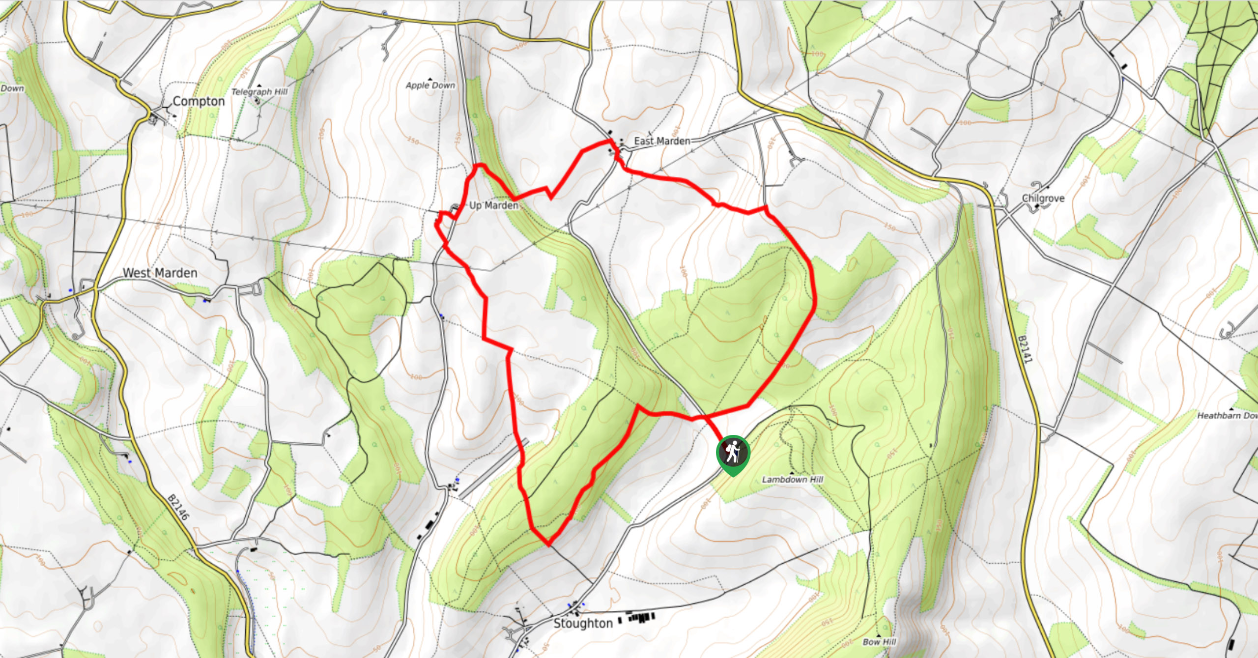 South Downs National Park-Stoughton Walk-Map image