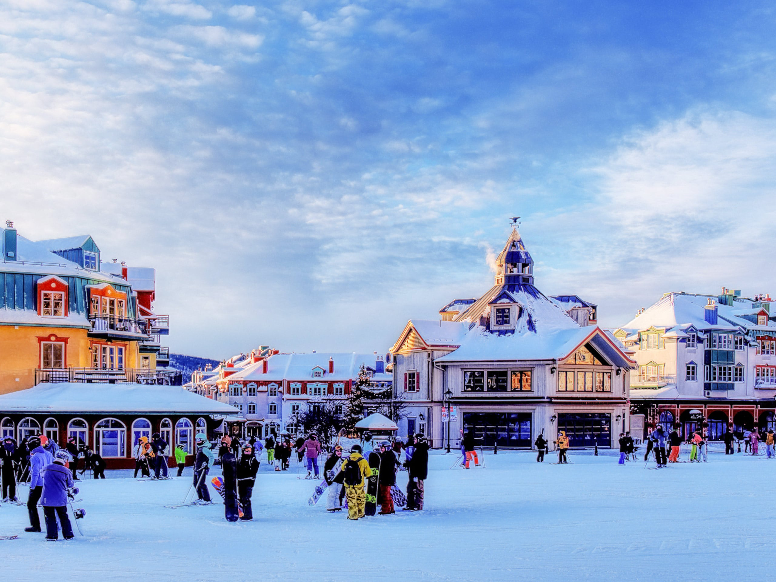 Mont Tremblant village in winter skiing snowboarding in Quebec Canada