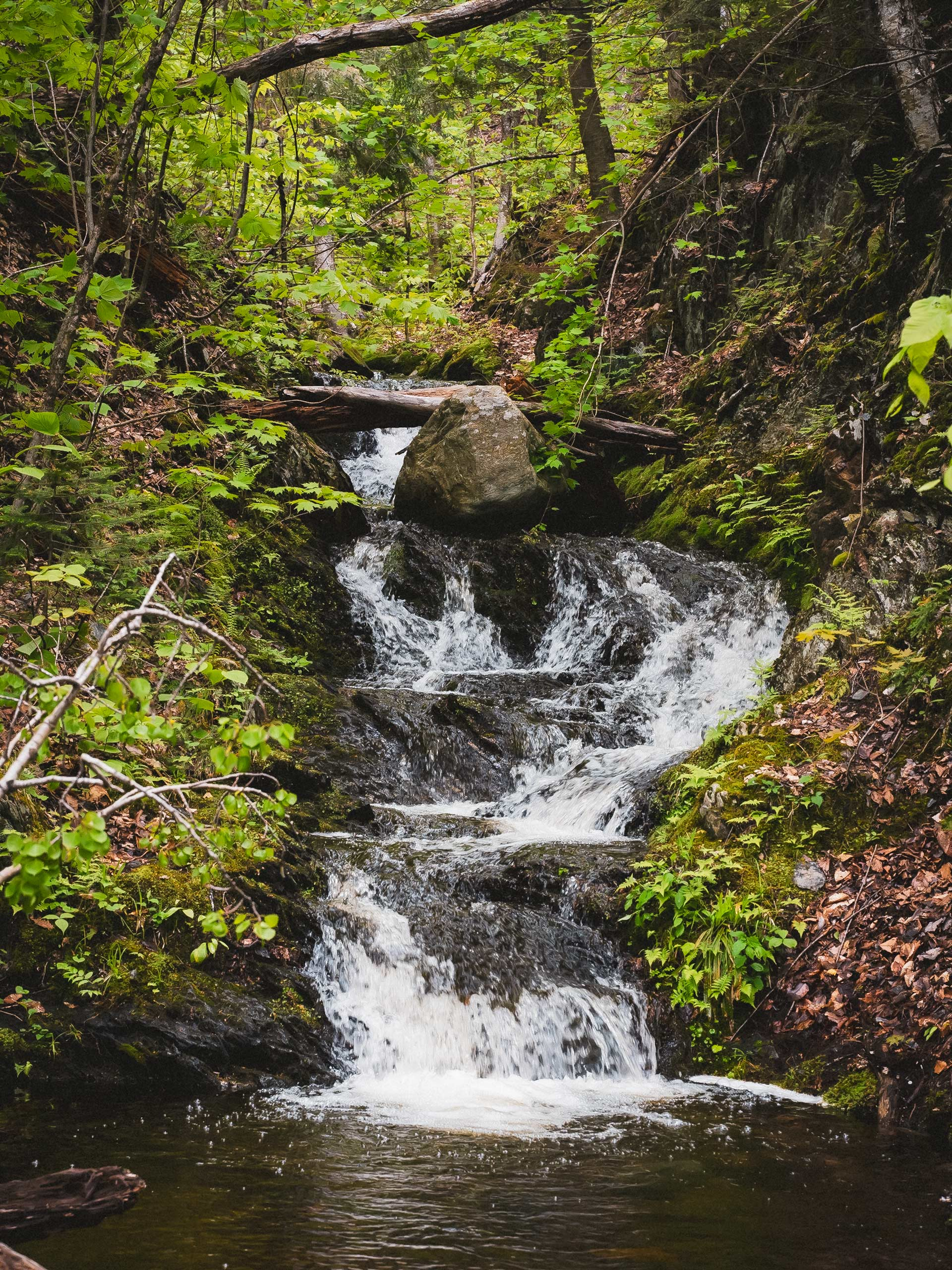 Parc National du Mont Orford natural waterfalls near Montreal Quebec
