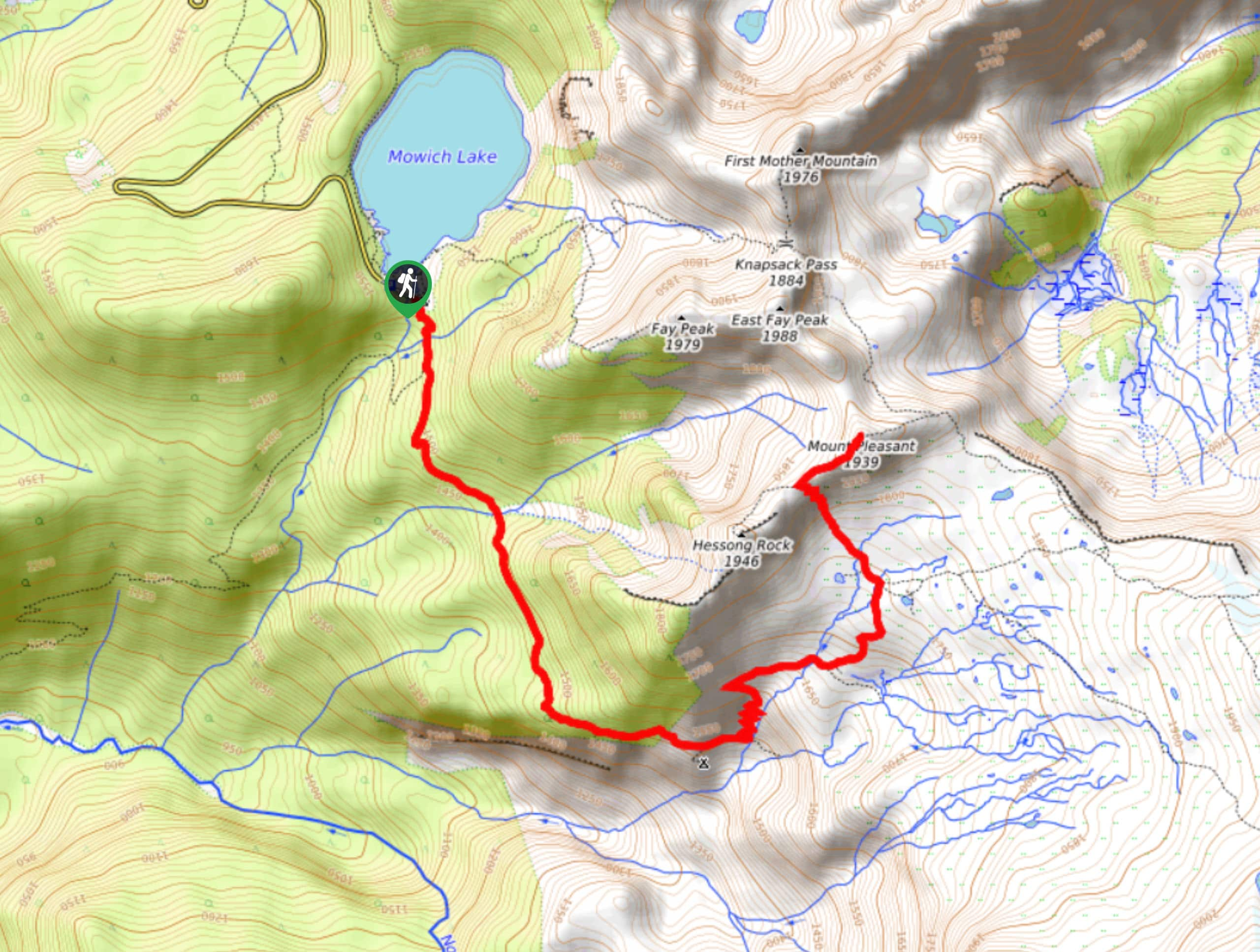 Spray Park Trail to Mount Pleasant Map