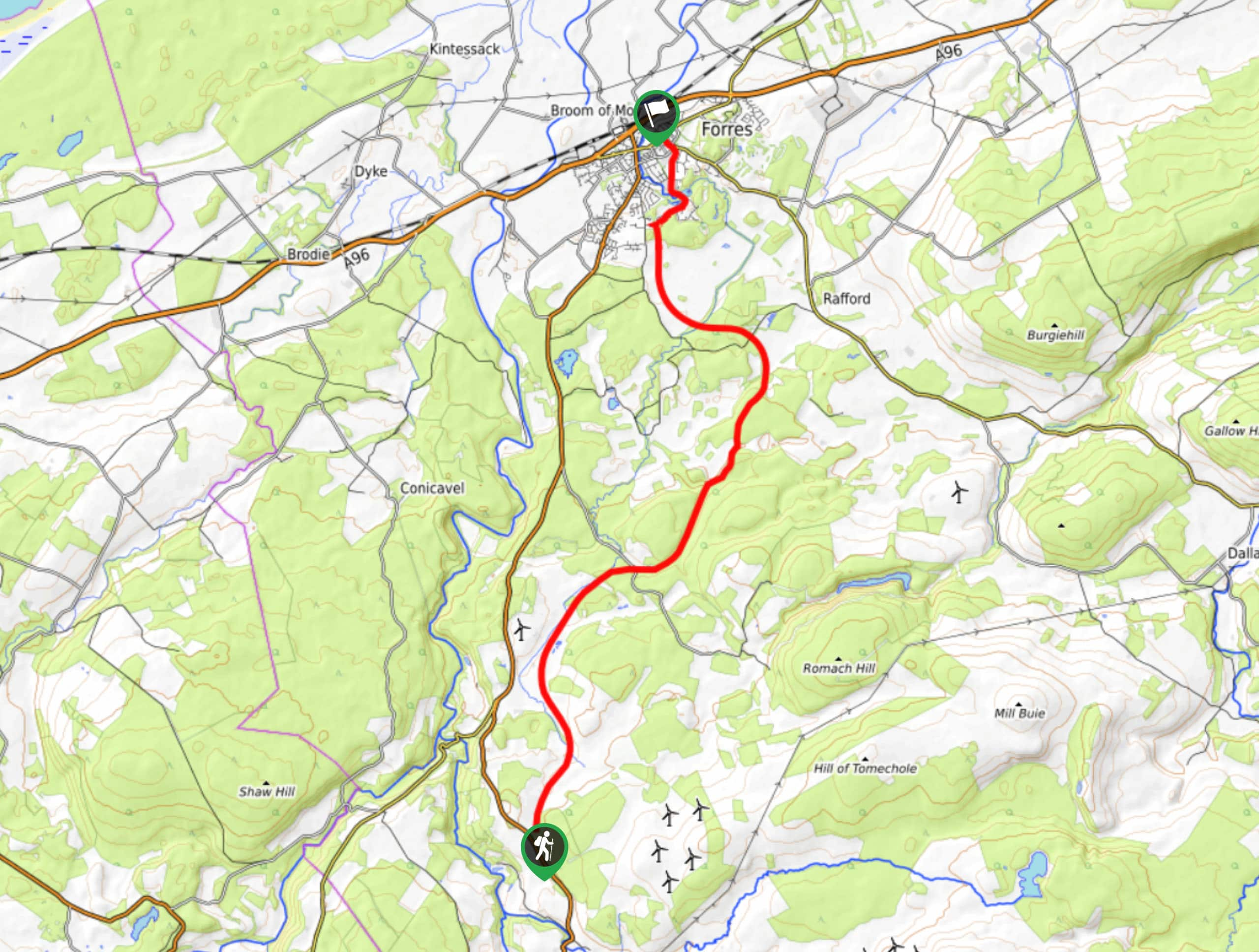Dava Way: Dunphail to Forres Map